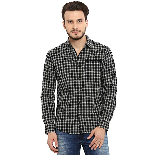 Mufti Men's Checkered Slim fit Casual Shirt (MFS-9577-H-01-BLACK-XXL_Black 2XL)