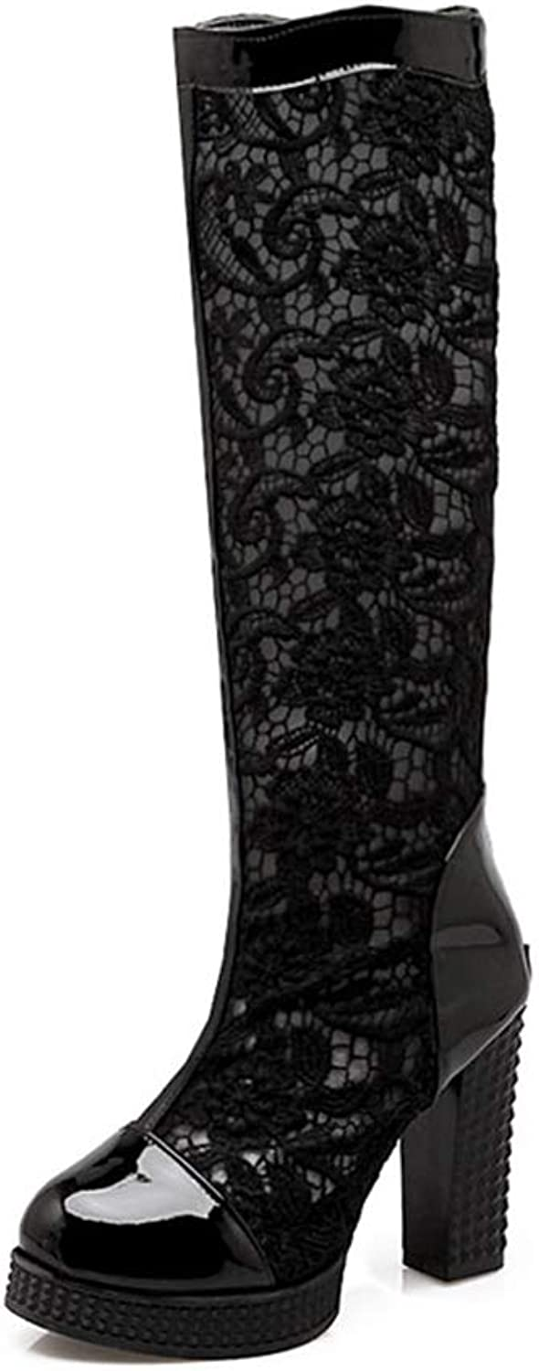 Women's Knee High Boots Flower Lace Upper Square High Square Heel Woman Breathable Platform Zipper shoes
