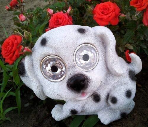 Colorfull Patio-Outdoor Garden Decor Solar Dog Puppy Figurine Statue Light - Dalmatian