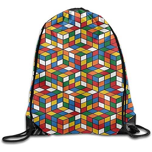 Zaino con Corde,Borse da Palestra con Coulisse,Zaino con Coulisse,Sacca per Sacca da Palestra con Cubo Rubik's Cube World',Borsa da Viaggio con Cordino da Viaggio,Pacchetto Sport Cinch