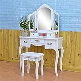 ZGQA-GQA Taburete de Maquillaje de Madera 2 cajones Modern Tri-Fold Mirror Cómoda con Taburete Blanco para el Dormitorio.