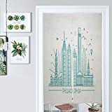 ALUONI Cotton Linen Japanese Noren Curtain Tapestry Philadelphia Skyline, Outline Monochrome City Panorama with Doorway Curtain Kitchen Curtains AM026302 33.5 x 59 inches