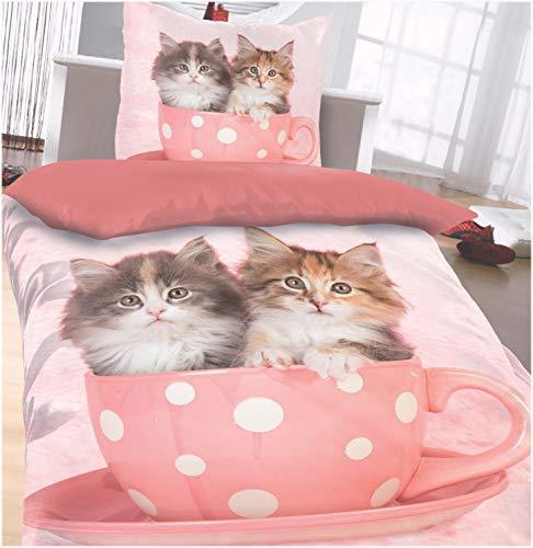 Julido Microfaser Bettwäsche 135x200 + 80x80 Katzen Kinderbettwäsche Kätzchen