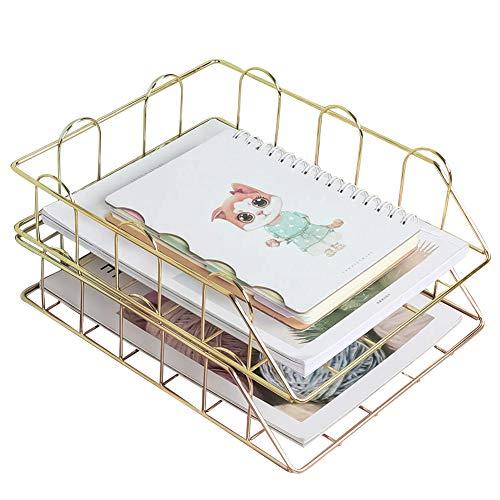 LACKINGONE 2 Stück Stapelbare Briefablage Papierablage Schreibtisch Organizer Dokumentenablage aus Metall 30 x 25 x 14 cm für Büro, Schreibtisch, Ankleider (gold)