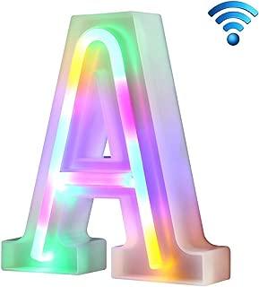 Coloridas luces de neón con letras 26 letras iluminadas para la fiesta de cumpleaños de la boda Lámpara de Navidad con batería Home Bar Decoración del dormitorio (A, sin control remoto)