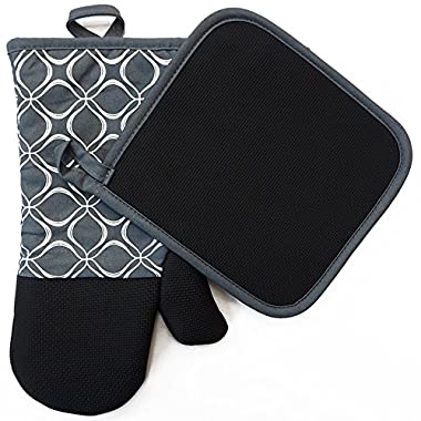 Shaped Oven Mitts and Pot Holders Set of 2 for Kitchen Set With Cotton Neoprene Silicone Non-Slip Grip, Heat Resistant, Oven Gloves for BBQ Cooking Baking, Grilling, Machine Washable (Grey Neoprene)
