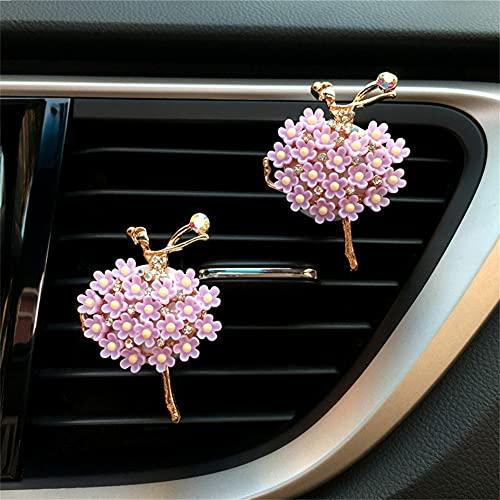 Salida de Aire de Girasol Clip de Perfume fragante, Clip de ventilación de Aire de Flores para el Interior del automóvil, Ambientadores automóvil para Mujeres Larga duración Lindo Regalar (I)