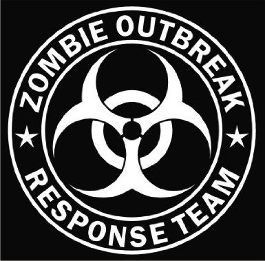 Motif zombie outbreak response team blanc die-cut decal sticker vinyle