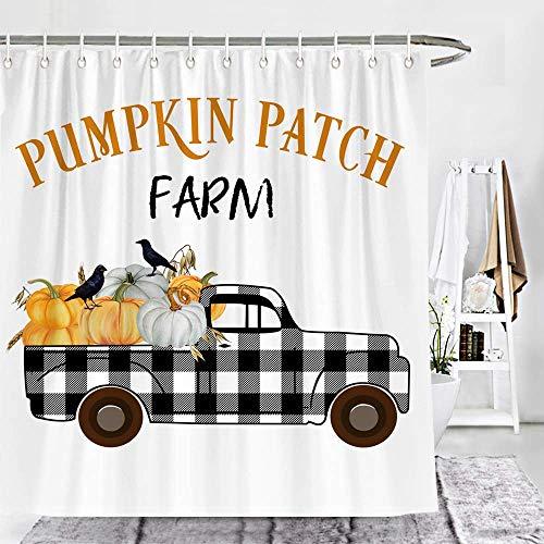 Ollt Duschvorhänge Set, Kürbis Farm Check Plaid Truck Mit Crow Farmhouse Duschvorhang, Herbst Badezimmer Dekor Mit Haken 150x200cm