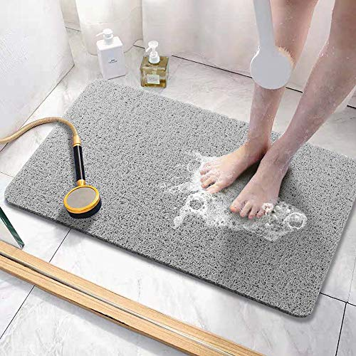 Asvin Soft Textured Bath, Shower, Tub Mat, 24x16 Inch, Phthalate Free, Non Slip Comfort Bathtub Mats with Drain, PVC Loofah Bathroom Mats for Wet Areas, Quick Drying