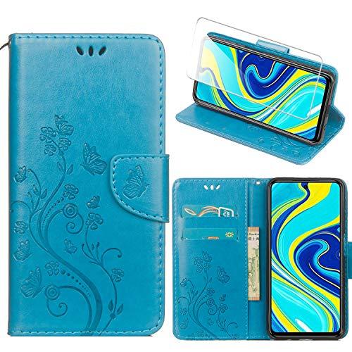 Funda para Redmi Note 9S,Azul PU Cuero Función de Soporte Billetera Flip Protectora Carcasa con UNO Cristal Templado Protector de Pantalla para Xiaomi Redmi Note 9S / Note 9 Pro (6,67 Pulgadas)