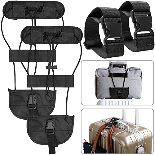 AFUNTA 4 Packs Add A Luggage Belt and Straps, Adjustable Travel Suitcase Belt Attachment Accessories for Connect Luggage Together - Black