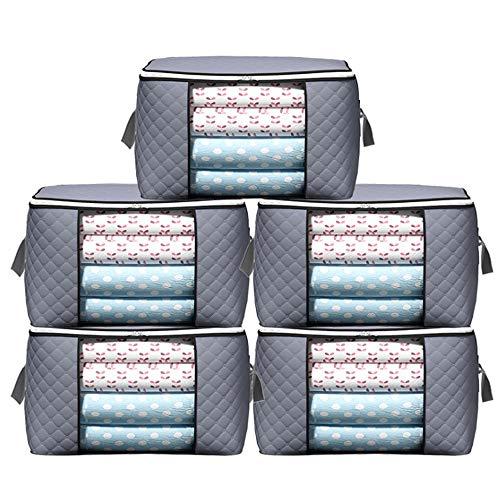 HZDHCLH Faltbare Schlafzimmer-Aufbewahrungstasche, große Kapazität, wasserdicht und feuchtigkeitsbeständig, Doppel-Reißverschluss, geeignet für Kleidung, Steppdecken, Decken(grau, 5 Packungen)