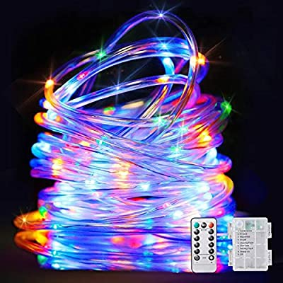 Upgraded LED String Lights Battery Operated Christmas Rope Light-40Ft 120 LEDs 8 Modes Outdoor Waterproof Fairy Lights Dimmable/Timer with Remote for Party Garden Decoration (Multi-Color) 1 Pack