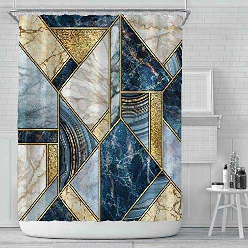 Thinyfull Marble Shower Curtain, Modern Luxury Gold Blue White Geometric Texture Lines Fabric Marble Curtains with Hooks Waterproof Washable Easy Care, 72x72 inches