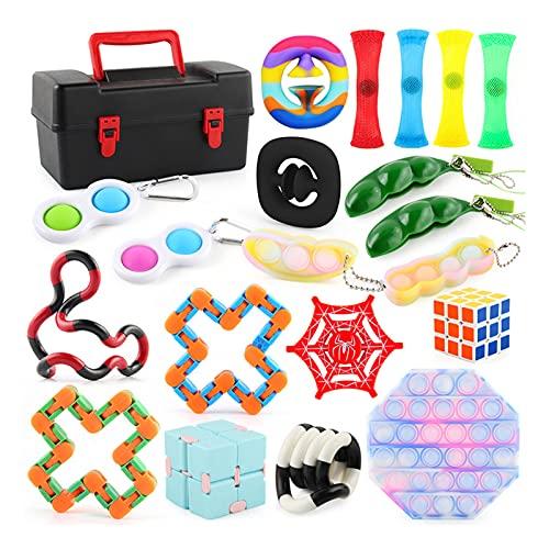 Paquete de juguete de alivio de estrés, paquete sensorial de juguetes de Fidget con push Pop Bubble Dimple simple, descompresión Fidget Toys Set Fidget Toy Regals que fáciles de llevar para los niños