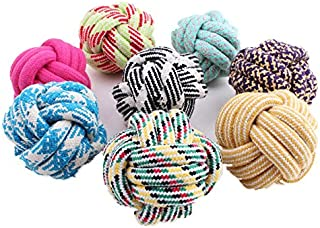 Rachel Pet Products Colorful Cotton Rope Weaving Durable Chew Cleaning Teeth Ball Pets Dog Toys, Random Color, 2 pcs per Pack