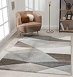 The Carpet Monde Tapis de salon moderne à poils courts et doux - Effet de profondeur - Contours délimités - Motif vagues - Gris/beige - 160 x 230 cm