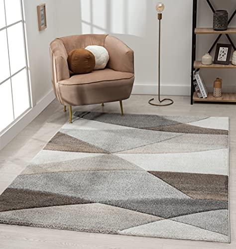 The Carpet Monde Tapis de salon moderne à poils courts et doux - Effet de profondeur - Contours délimités - Motif vagues - Gris/beige - 200 x 290 cm