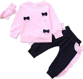 Ropa Niña Otoño Invierno,Fossen 1-4 años Bebe Bowknot Camisetas de Manga Larga+ Pantalones Encaje + Cintas de Pelo