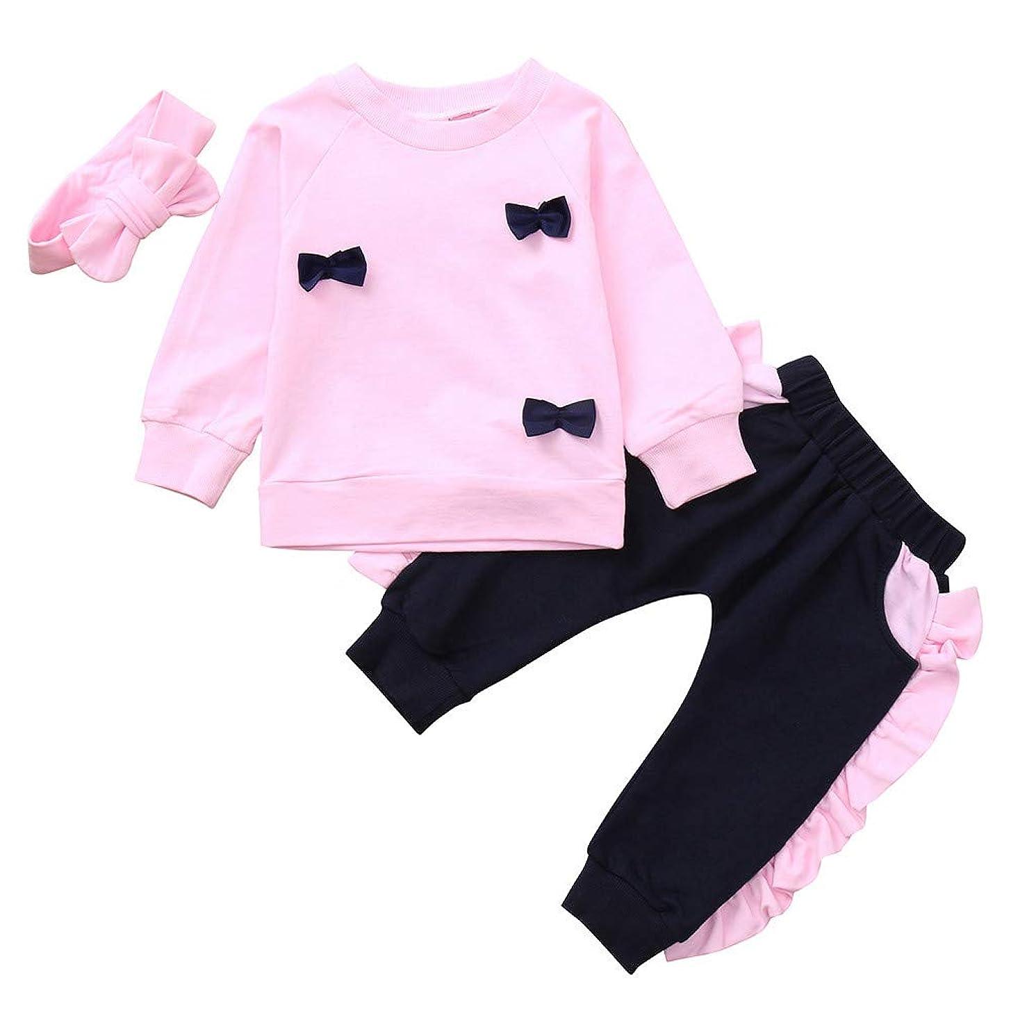 Mhomzawa 女の子ベビー服 可愛い 長袖 ボウトップ+パンツ+ヘッドバンド 3点セット 人気 スウェット トレーナー 春と秋 薄手 おしゃれ