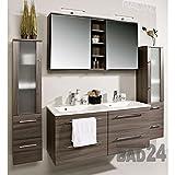 badmöbelset Badezimmer Möbel Set Mailand Eiche dunkel inkl. Doppel-Waschbecken und Doppel-Spiegelschrank Preishit