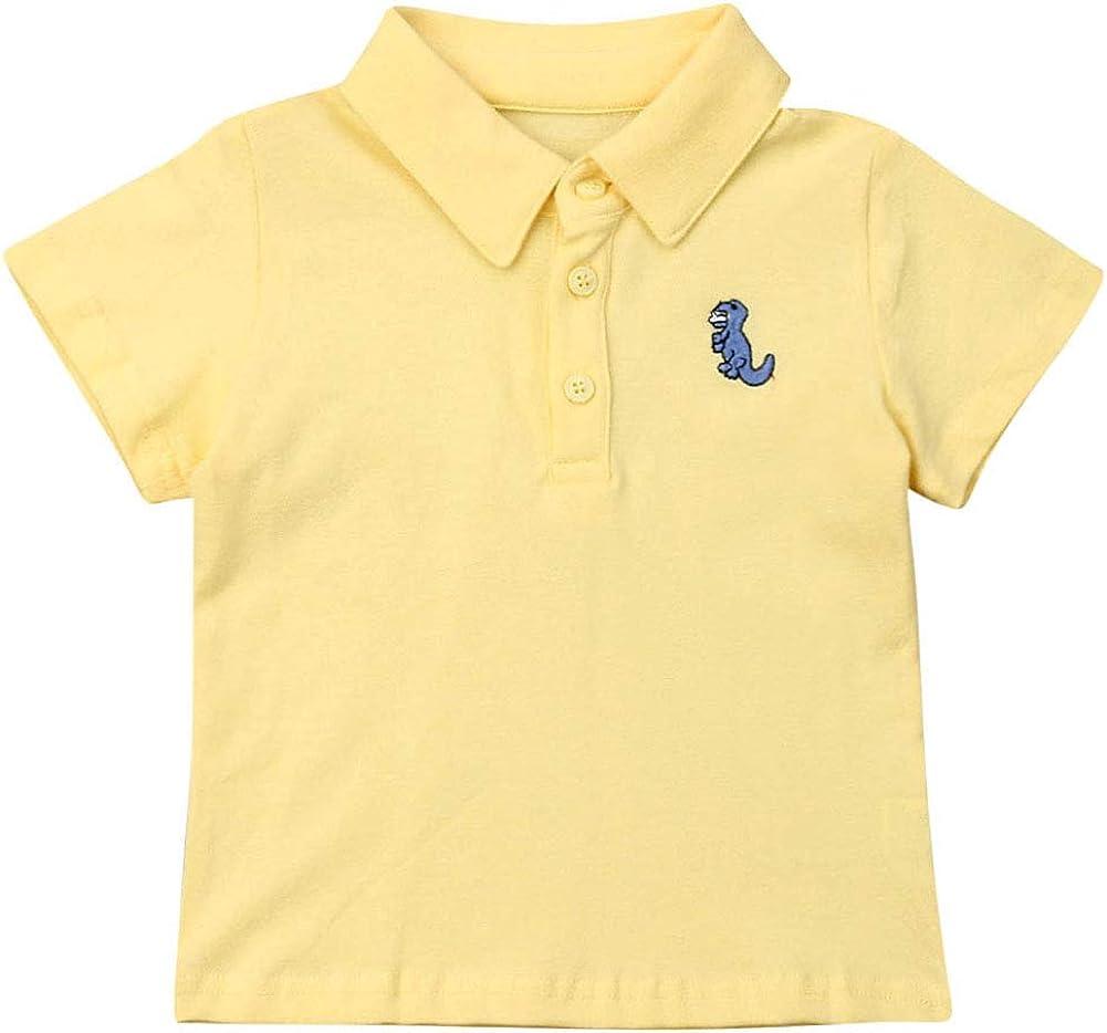 Baby Boys' Short Sleeve Uniform Polo Shirt Dinosaur Applique Button-Down Collar T-Shirt Top