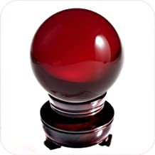 Amlong Crystal Meditation Divnation Sphere Feng Shui Crystal Ball, Lensball, Decorative Ball with Wooden Stand and Gift Box, Red, 2 inch (50mm) Diameter