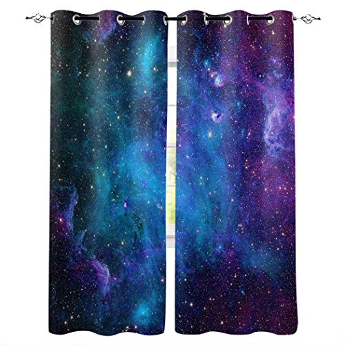 Aiesther Space Window Curtains, Room Darkening Thermal Insulated Blackout Curtains for Living Room Bedroom (2 Panels, 52' W by 72' L), Galaxy Stars Universe Fantasy Planet Nebula Starry Sky