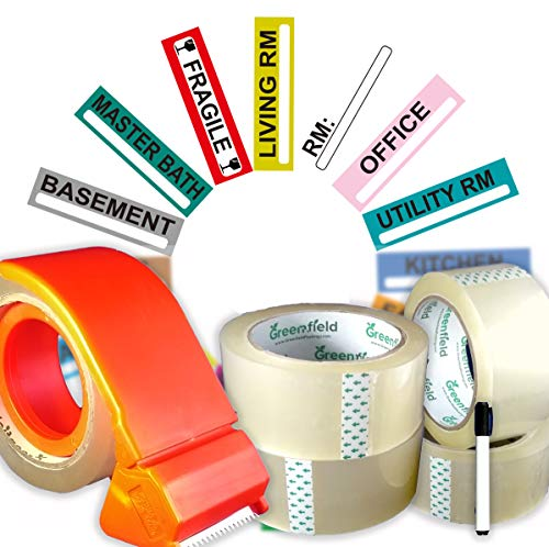 Product Name Moving Supplies Set | 200 Color Coded Moving Labels for Moving Boxes | 4 Heavy Duty Packing Tape Rolls | Tape Dispenser | Permanent Marker | Packing Storage Stickers