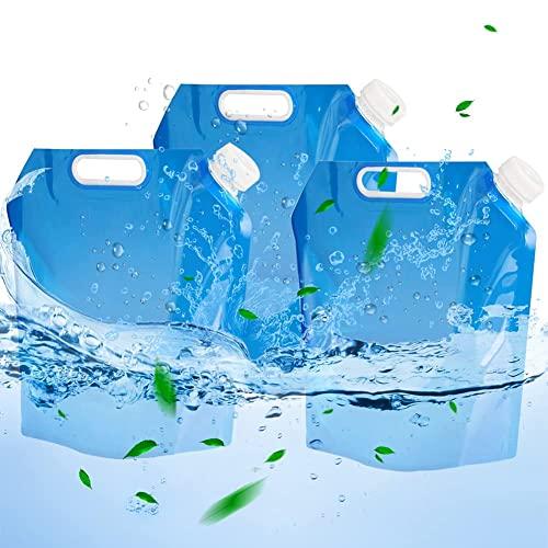 FANDE Bolsa de Agua Plegable, 3 Piezas Contenedores de Agua Plegables, Bolsa de Tanque Plegable para Acampar, Barbacoa para Acampar al Aire Libre Barbacoa de Picnic, 10 L
