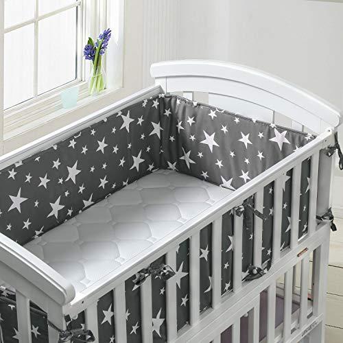 Luchild Bettumrandung Nest Kopfschutz Nestchen Babybett Gemustert Bettnestchen Bettumrandung weich wattiert (210cm/82.6inch, Grau)