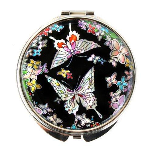 Miroir compact double en nacre pour maquillage, maquillage ou cosmétique, miroir de sac ou sac avec motif papillon