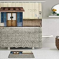 GEEVOSUN シャワーカーテン バスマット 2点セット コーヒーレトロレンガウォールボードストリートデコレーション 自家 寮用 ホテル 間仕切り 浴室 バスルーム 風呂カーテン 足ふきマット 遮光 防水 おしゃれ 12個リング付き