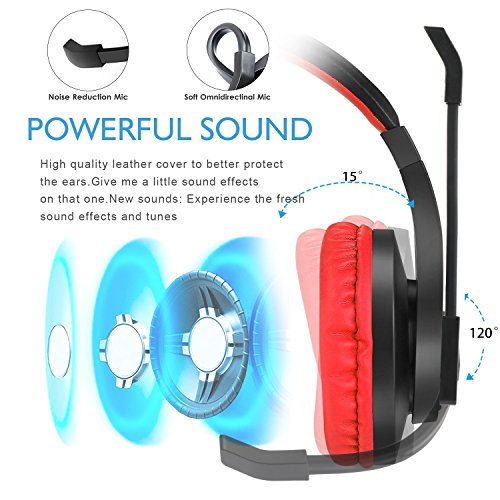 Greatever Stereo Gaming Headset for PS4 Xbox One, Professional 3.5mm Bass Over-Ear Headphones with Mic,Volume Control for Laptop, PC, Mac, iPad, Computer, Smartphones, Red