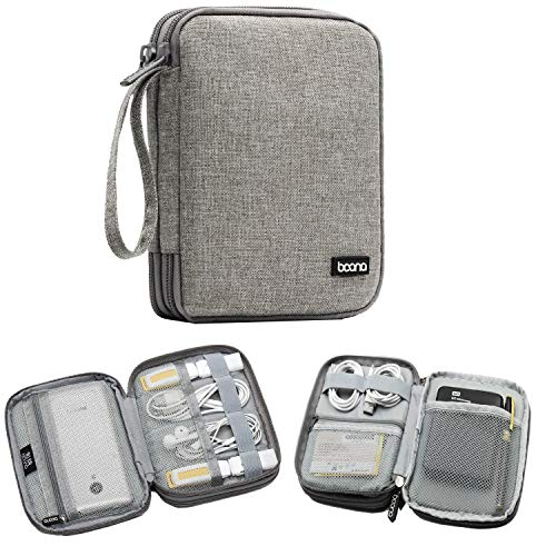BOONA Cable Organizer Bag, Universal Electronic Accessories Travel Case for Cable, External Battery, Car Charger - Best Portable Gadget Padded Tech Kit Zippered Pouch (Grey, Small Double Layer)