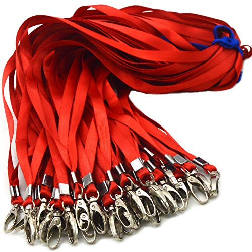 Red Bulk Lanyards for Id Badges, Nylon Neck Flat Lanyard Swivel Hooks Clips, Durably Woven lanyards with Clip for Key Chains Men Women Office ID Name Tags and Badge Holders, lanyards 50Pack 32-inch