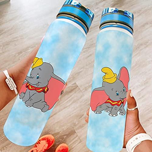 Snilyyx Dibujos animados Dumbo Deportes Botella De Agua Grande Botella De Agua A Prueba De Fugas Regalos Para Amigos Blanco 1000ml