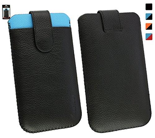 Emartbuy® Allview E4 / Allview E4 Lite Genuine Calfskin LederSchwarz/Blau Slide in Hülle Case Cover Sleeve (Größe 4XL) with CRotit Card Slot und Pull Tab Mechanism