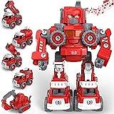 TOYABI Feuerwehrauto, DIY 5 in 1 Auto Spielzeug mit Lichtern und Tönen, STEM Roboter Baukasten Konstruktionsspielzeug für 3 4 5 6 7 8 Jahren Jungen