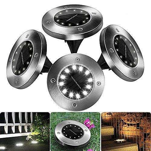 4 Piezas Luces Solar de Tierra Luz 12 LED, 100LM Luz Solar Led Jardin IP65 Impermeable Lámpara en el Exterior, Patio, Entrada de Garaje, Césped, Decoración de Camino