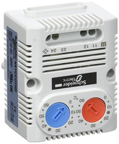 Schneider Electric NSYCCOTHDF ClimaSys CC, Termostato Doble 250V, Rango de Temperatura 0-60 ° C, 1NO / NC, ° F, Gris Claro