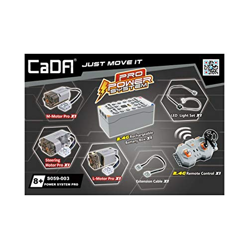 CaDA System PRO HighSpeed inkl. 3 Motoren, LED, Akku-Box & 2.4Ghz Fernsteuerung (kompatibel mit vielen Modellen & Lego CaDA Functions), S059-003, grau