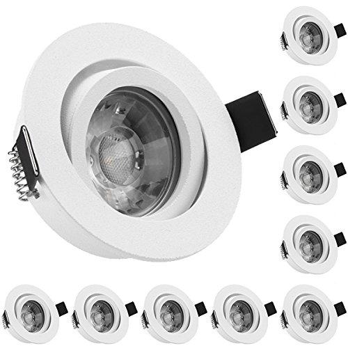 10er LED Einbaustrahler Set Weiß matt mit COB LED GU10 Markenstrahler von LEDANDO - 5W DIMMBAR - warmweiss - 40° Abstrahlwinkel - schwenkbar - 50W Ersatz - A+ - COB LED Spot 5 Watt - Einbauleuchte LED rund