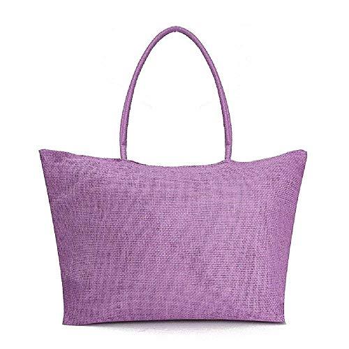 Lovelegis Canvas Frau Tasche - Frau - Mädchen - im Stroh - groß - geräumig - originelle Geschenkidee - hellviolette Farbe