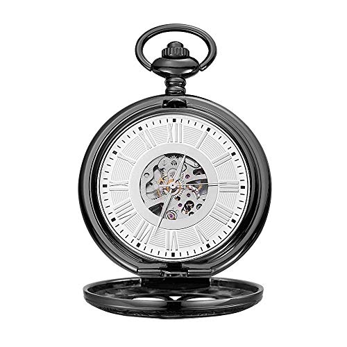 KTDT Reloj de Bolsillo mecánico de almeja Negra Roman Carved Hollow Classic Machinery A Nice Gifta Nice Gift Vintage Pocket Watch (Color: Negro, Tamaño: 4.7x1.5cm)