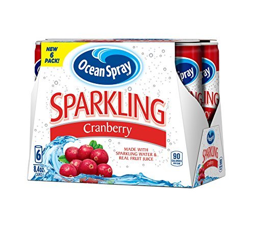 Ocean Spray Sparkling Juice, Cranberry, 8.4 Ounce Can (Pack of 6)