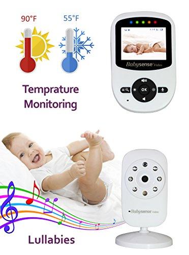 Babysense Video Baby Monitor with Digital Camera, Long Range, Room Temperature, Infrared Night Vision, 2 Way Talk Back, Lullabies and High Capacity Battery