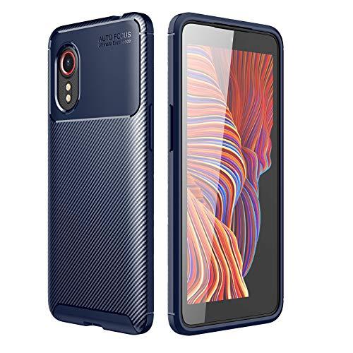 GOKEN Funda para Samsung Galaxy Xcover 5, TPU Silicona Fibra de Carbono Protección Carcasa, Bumper Caso Case Cover con Shock- Absorción, Azul