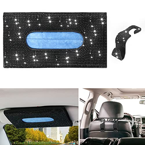 Sayopin Car Visor Mask Holder Bling, Easy to Use Mask Holder for Car, Bling Car Mask Dispenser, Premium Car Tissue Box for Car Vehicle with 1 Glitter Cute Car Hook, Bling Car Accessories for Women